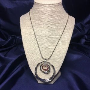 Triple circle silver and copper necklace